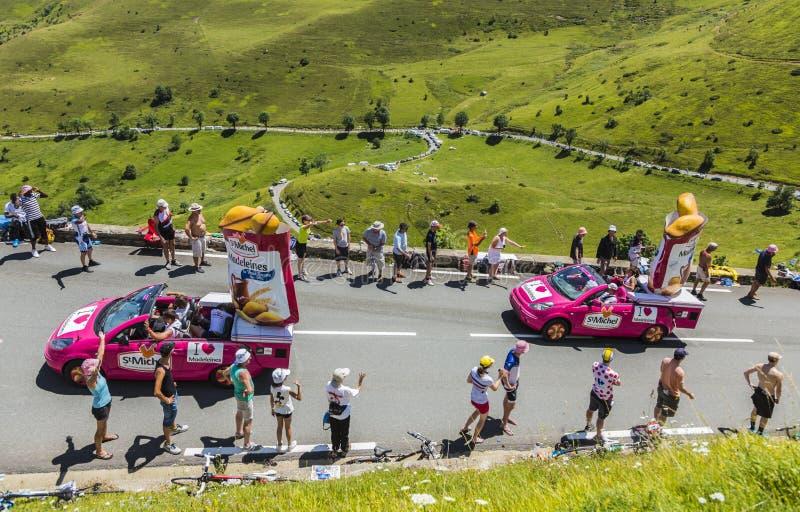 St Michel Madeleines Caravan - Tour de France 2014 imágenes de archivo libres de regalías