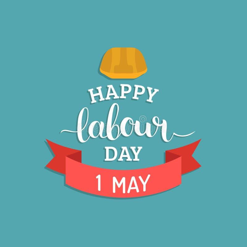 1st może literowanie wektoru tło Szczęśliwy praca dnia loga pojęcie z hełmem Międzynarodowa pracownika dnia ilustracja ilustracja wektor