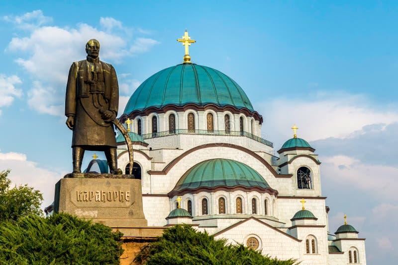St monunent Sava Cathedral och Karadjordje, Belgrade serbia royaltyfri foto