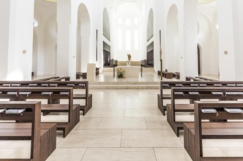 St. Moritz church in Augsburg in minimalistic style. AUGSBURG, GERMANY - APR 24, 2015: British architect John Pawson's minimalist remodelling of St. Moritz stock image
