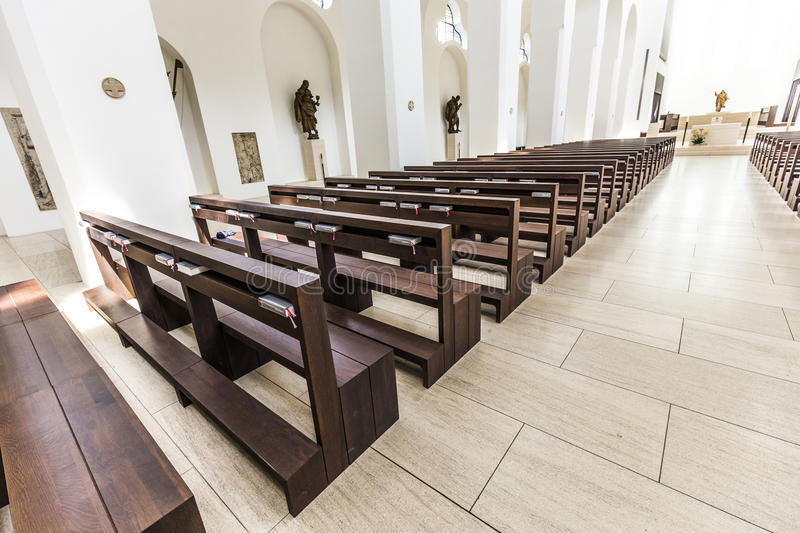 St. Moritz church in Augsburg in minimalistic style. AUGSBURG, GERMANY - APR 24, 2015: British architect John Pawson's minimalist remodelling of St. Moritz royalty free stock photos