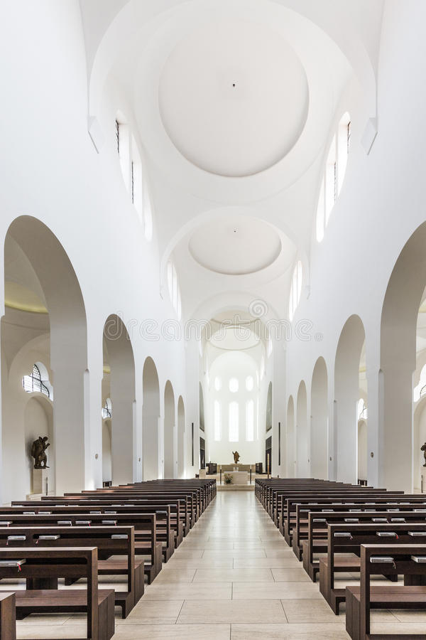 St. Moritz church in Augsburg in minimalistic style. AUGSBURG, GERMANY - APR 24, 2015: British architect John Pawson's minimalist remodelling of St. Moritz stock photography