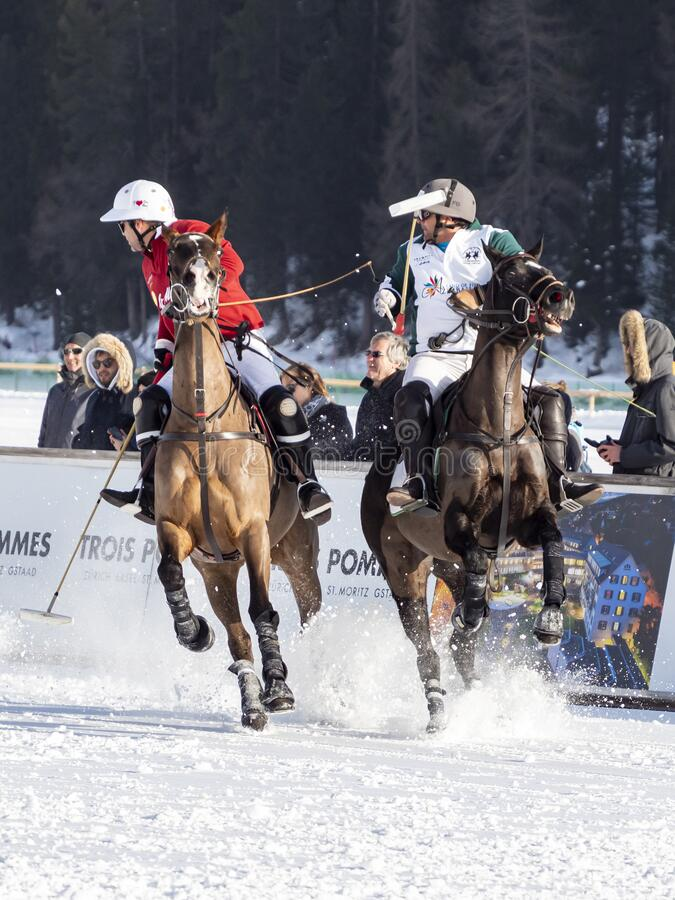 St. Moritz - January 26, 2020: Game actions at the Snow Polo World Cup St.Moritz 2020. Finals royalty free stock photography
