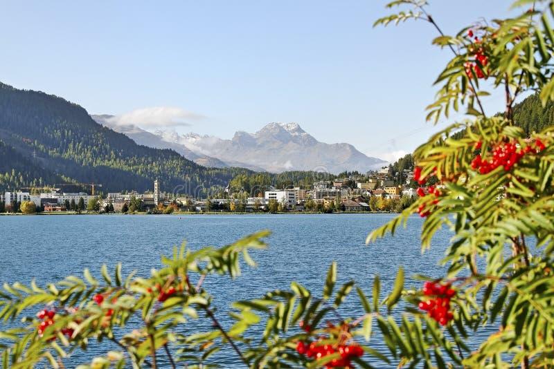 St Moritz jezioro. obrazy royalty free