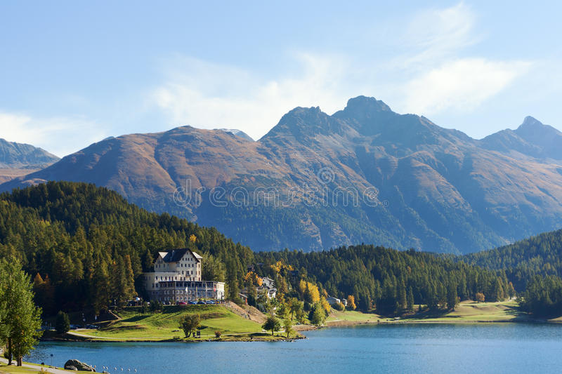 St. Moritz lake , Switzerland. Coast of St. Moritz lake in Alps, Switzerland stock image