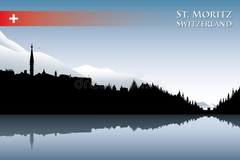 Download St. Moritz linia horyzontu ilustracja wektor. Ilustracja złożonej z scenics - 28961074