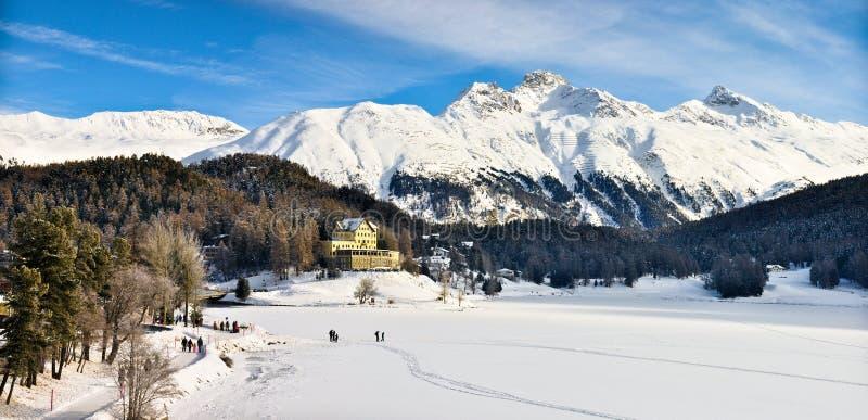 St Moritz See im Winter lizenzfreies stockbild