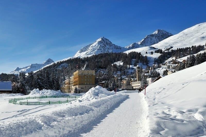 St. Moritz. Snowy scenery in mountain ski resort Sankt Moritz - Switzerland royalty free stock photography