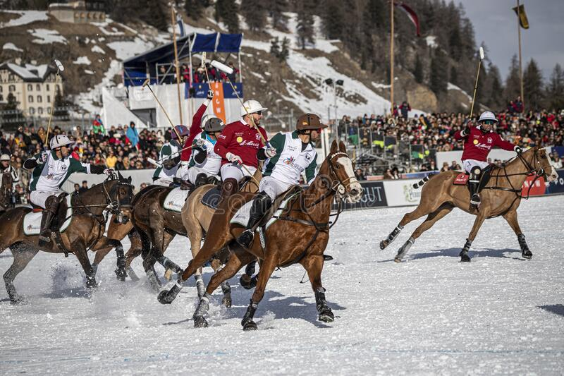 St. Moritz Switzerland - January 26, 2020 - The final of the Snow Polo World Cup. Is played on the frozen lake royalty free stock images
