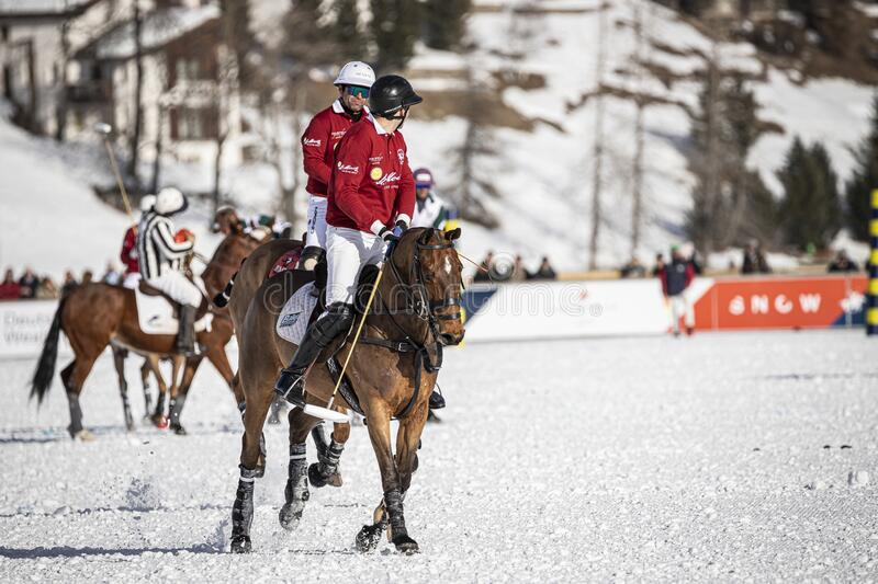 St. Moritz Switzerland - January 26, 2020 - The final of the Snow Polo World Cup. Is played on the frozen lake stock image