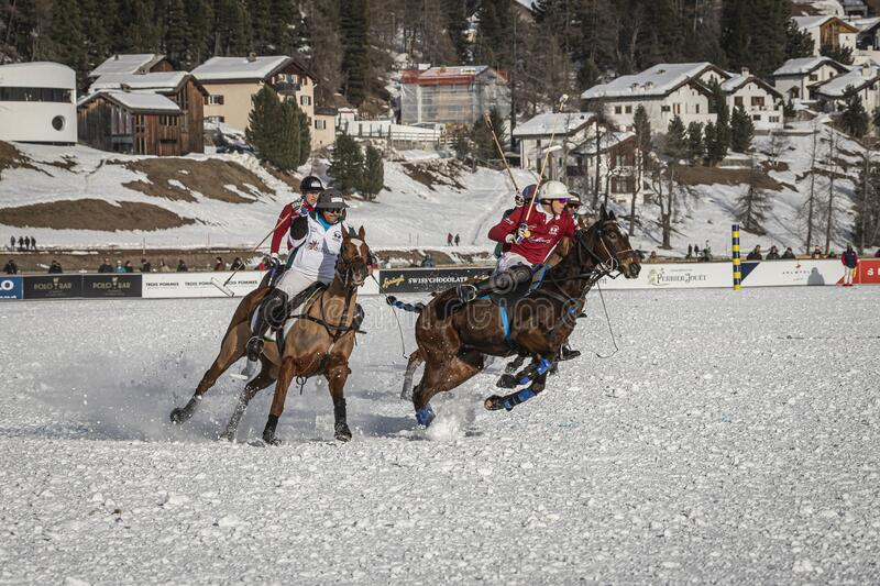 St. Moritz Switzerland - January 26, 2020 - The final of the Snow Polo World Cup. Is played on the frozen lake royalty free stock photos