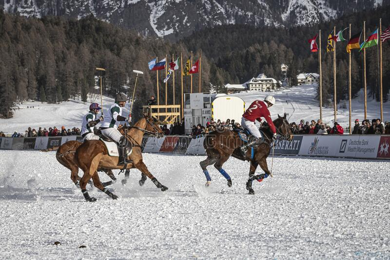 St. Moritz Switzerland - January 26, 2020 - The final of the Snow Polo World Cup. Is played on the frozen lake stock photos