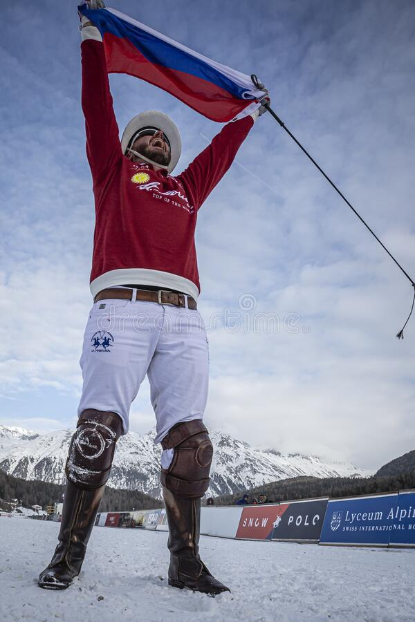St. Moritz Switzerland - January 26, 2020 - The final of the Snow Polo World Cup. Is played on the frozen lake royalty free stock photography