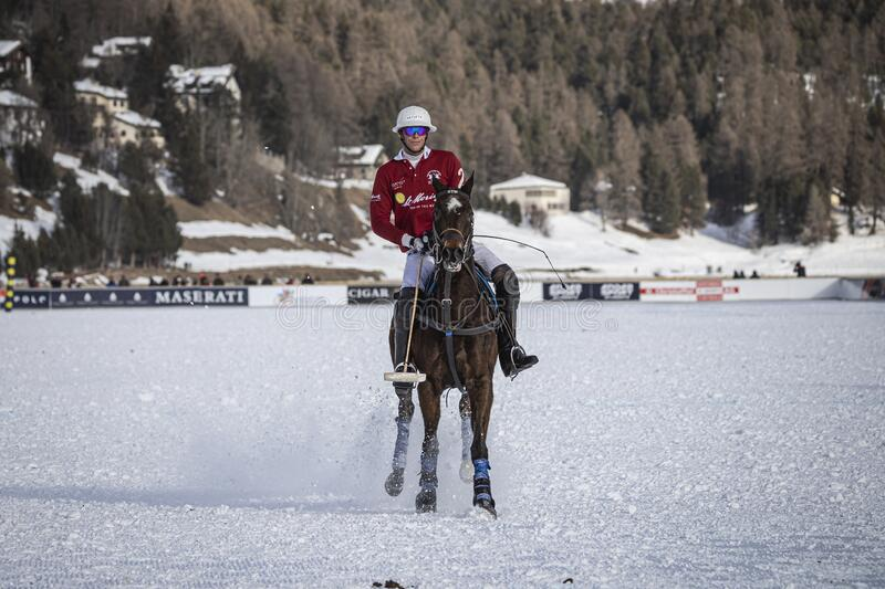 St. Moritz Switzerland - January 26, 2020 - The final of the Snow Polo World Cup. Is played on the frozen lake stock photography