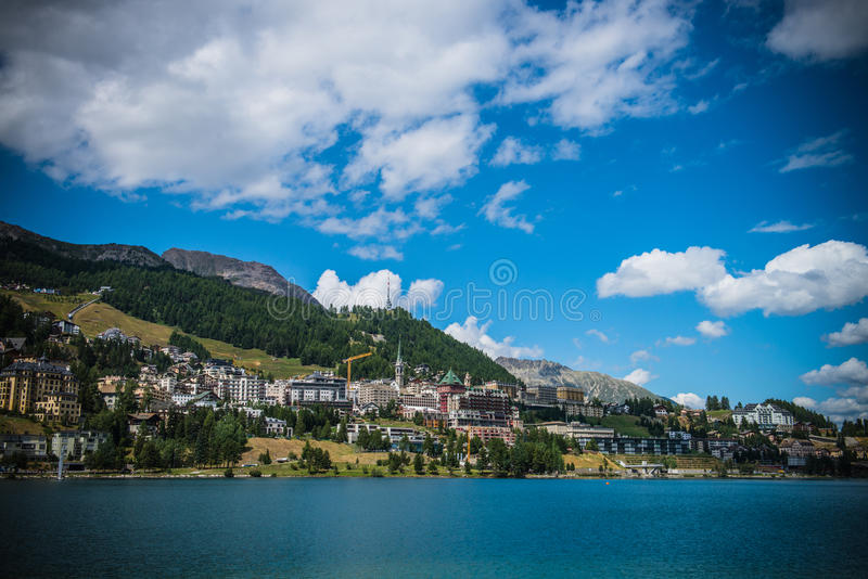 St. Moritz in Switzerland. Panoramic view of St. Moritz in Switzerland stock photo