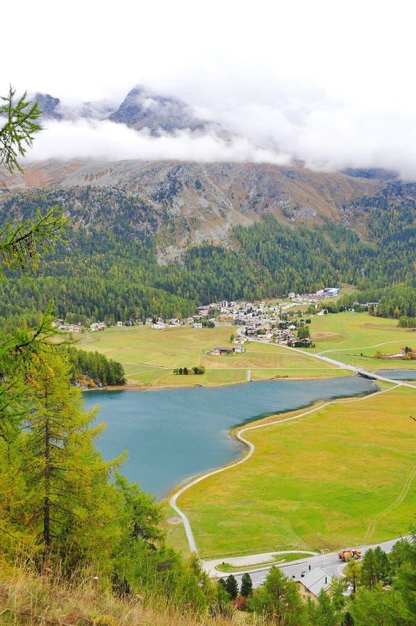 St Moritz valley in Switzerland stock image
