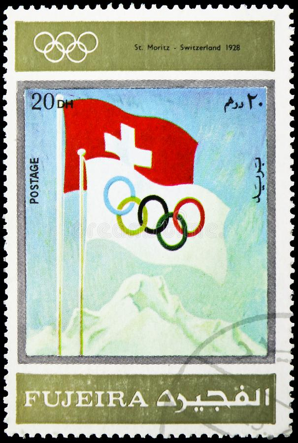 St.Moritz 1928, Winter Olympics 1924-1972, Advertising posters serie, circa 1972 stock images