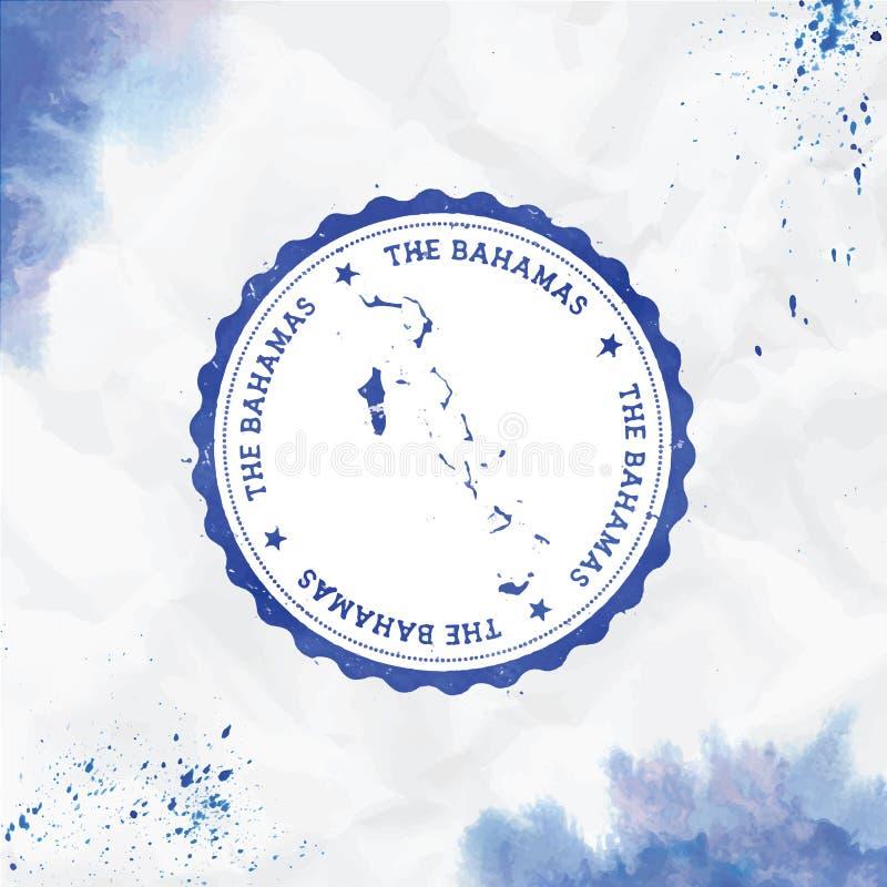 St?mpel f?r gummi f?r Bahamas vattenf?rg rund med royaltyfri illustrationer