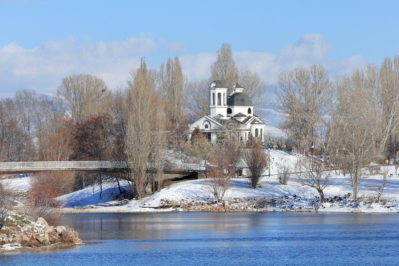 St Naum Ohridski教会在冬天 免版税库存照片