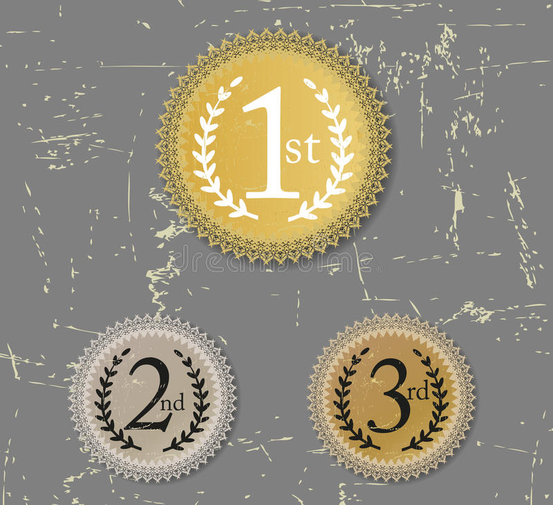 1st, 2nd i 3rd nagrody, pieczętują grunge royalty ilustracja