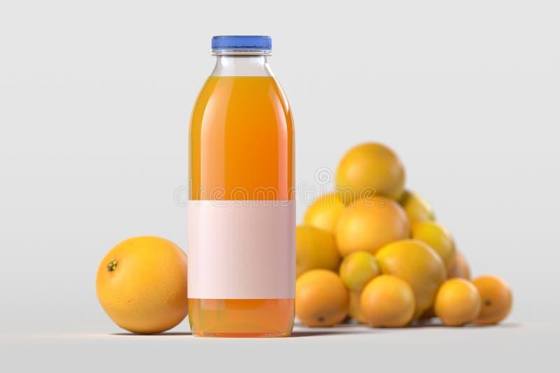 St?ng sig upp av ny orange fruktsaft i flaska p? ljus bakgrund framf?rande 3d arkivbilder