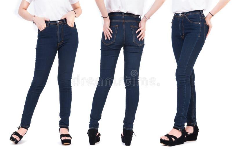 St?ng sig upp l?gre kropp av sk?nhetkvinnan med modejeans och skor Moderiktigt och nytt modebegrepp Isolerad vitbakgrund arkivfoto