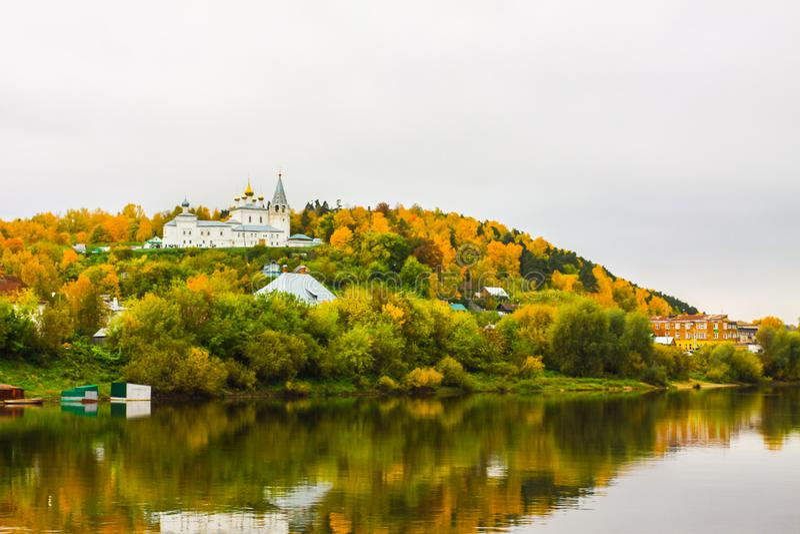 St. Nichola`s Holy Trinity Monastery Svyato Troitse Nikolsky Monastery. View from the Klyazma River. Gorokhovets. Vladimir oblast, Russia stock photography