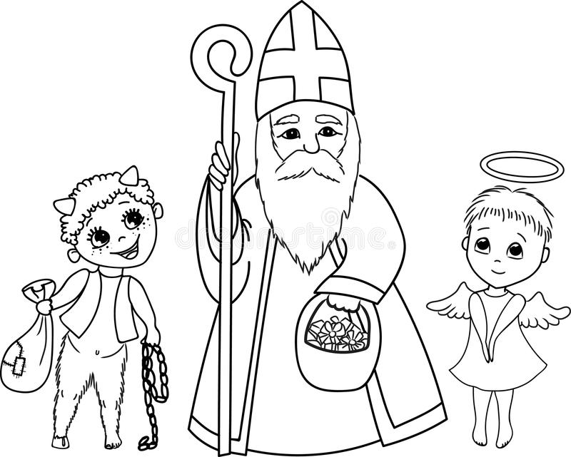 St nicholas angel and devil stock vector image 92220848 for St nicholas coloring pages