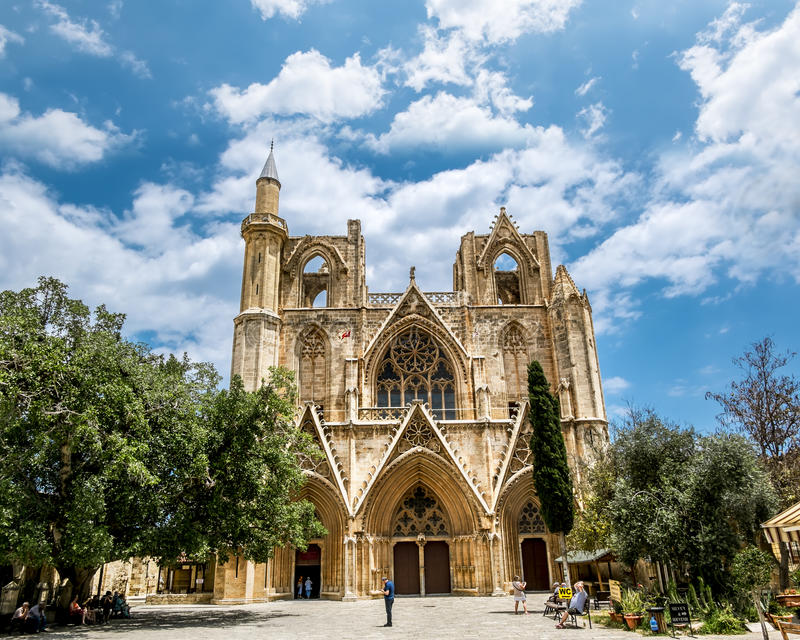 St. Nicholas Cathedral − mosque of Lala Mustafa Pasha in the o. May 24, 2016.Famagusta.St. Nicholas Cathedral − mosque of Lala Mustafa Pasha in the stock image