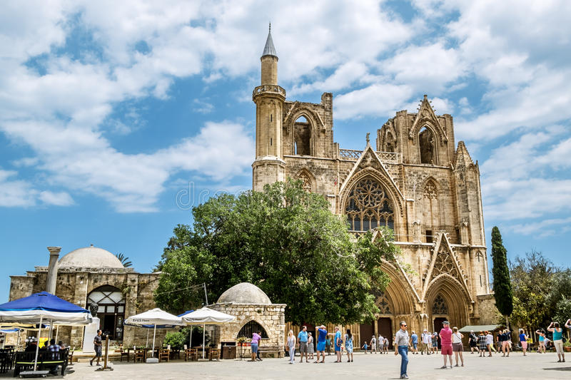 St. Nicholas Cathedral − mosque of Lala Mustafa Pasha in the o. May 24, 2016.Famagusta.St. Nicholas Cathedral − mosque of Lala Mustafa Pasha in the stock photography