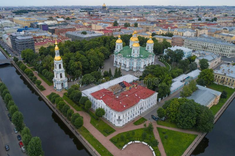 St. Nicholas Cathedral in the cityscape. Saint-Petersburg stock images