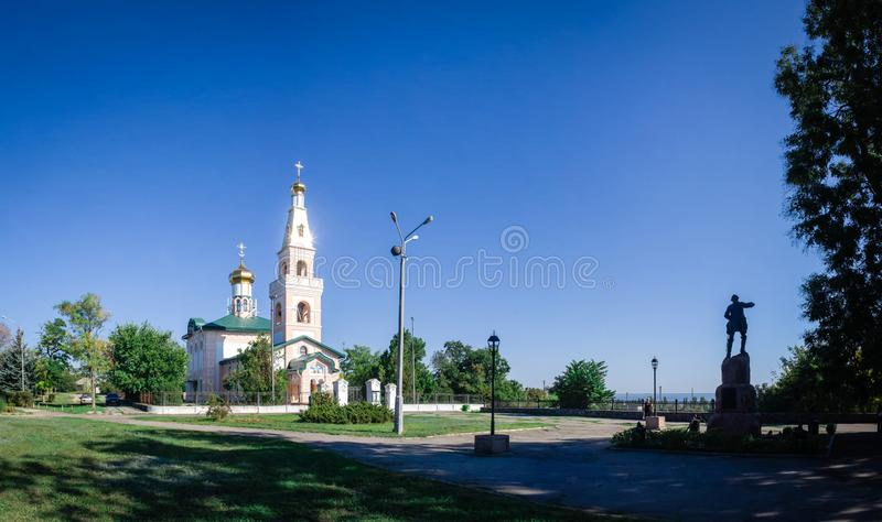 St Nicholas Cathedral i den Ochakov staden, Ukraina royaltyfria bilder