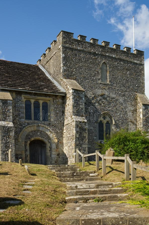 St. Nicholas Church, Bramber, West Sussex, England. Saint Nicholas Church at Bramber in West Sussex, England. Path and steps to entrance stock image