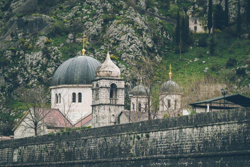 St Nicholas Church Domes em Kotor imagens de stock royalty free