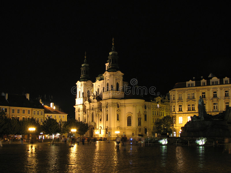 St. Nicholas Church by night royalty free stock photo