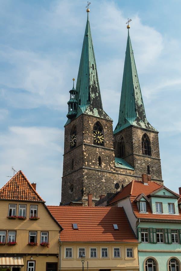 St Nicholas Church in Quedlinburg duitsland royalty-vrije stock fotografie