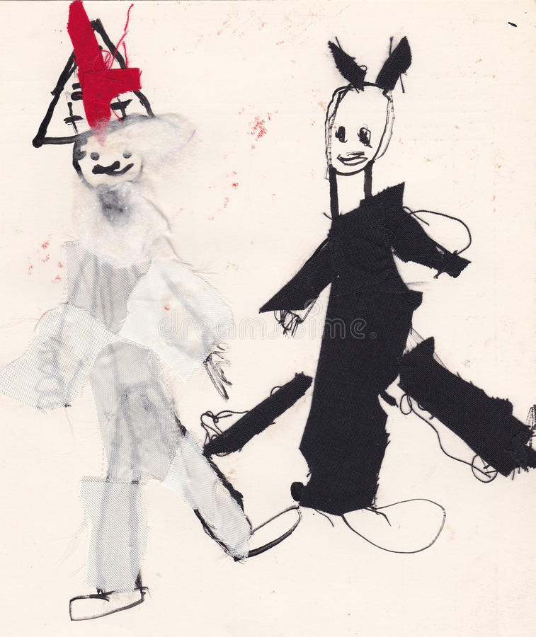 St. Nicholas and Devil - ink with glued fabric (original kid pic royalty free illustration