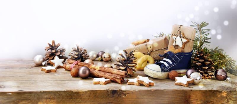 St Nicholas dzień, niemiec Nikolaus, szeroki panoramiczny format z ki zdjęcie stock