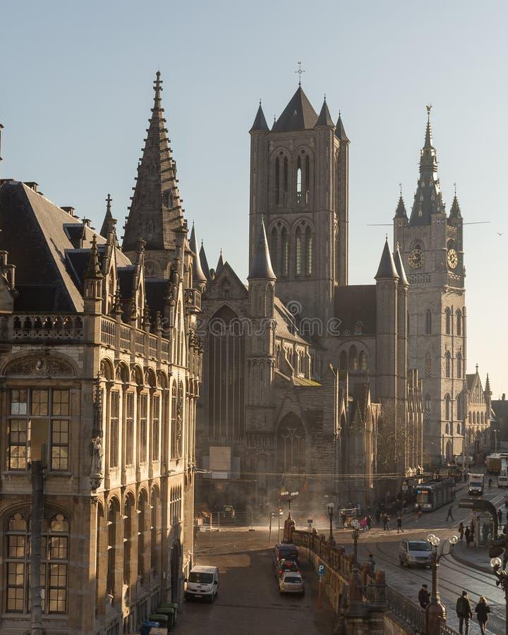 St Nicholas `-kyrka i Ghent royaltyfria foton