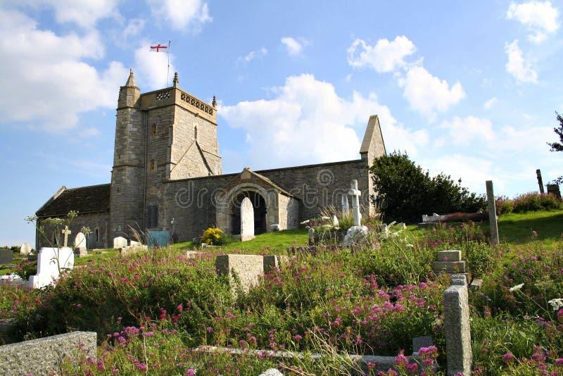 St Nicholas kyrka som är stigande, Somerset royaltyfri foto
