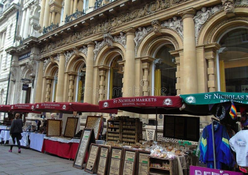 St Nicholas Markets, rua do milho, Bristol, Reino Unido imagens de stock