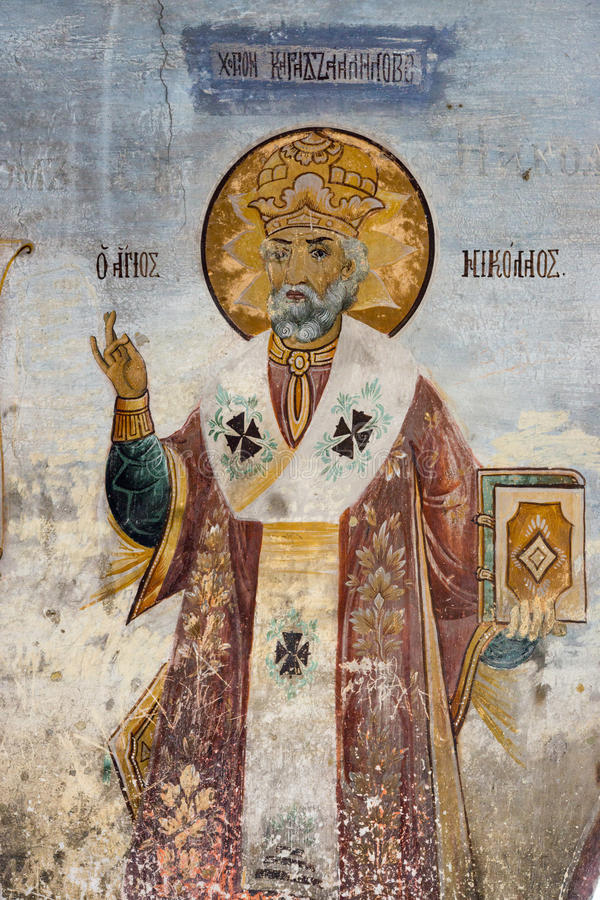 St Nicholas Monastery in de fresko's Bachkovski stock foto's