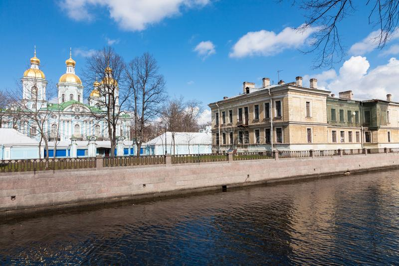 St Nicholas Naval Cathedral, St Petersburg royaltyfri fotografi