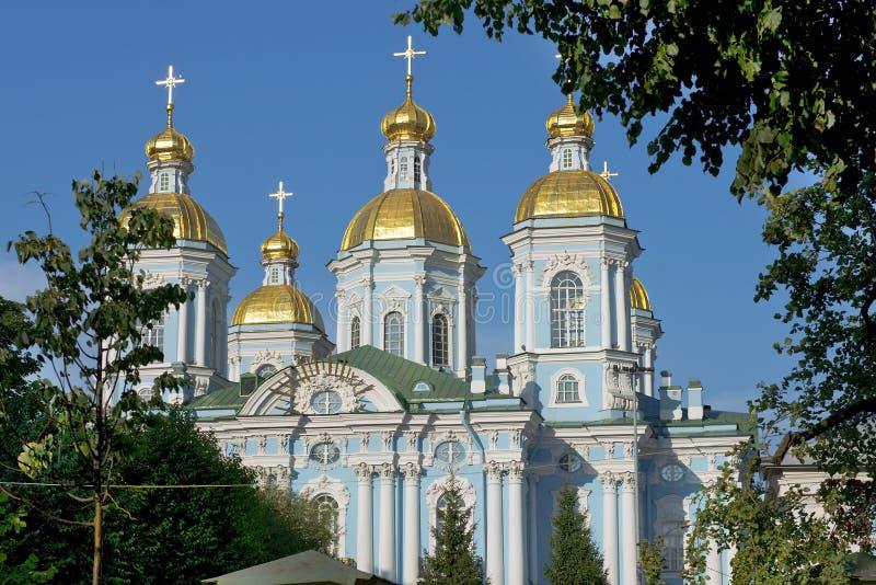 St Nicholas Naval Cathedral, St Petersburg, Rússia foto de stock