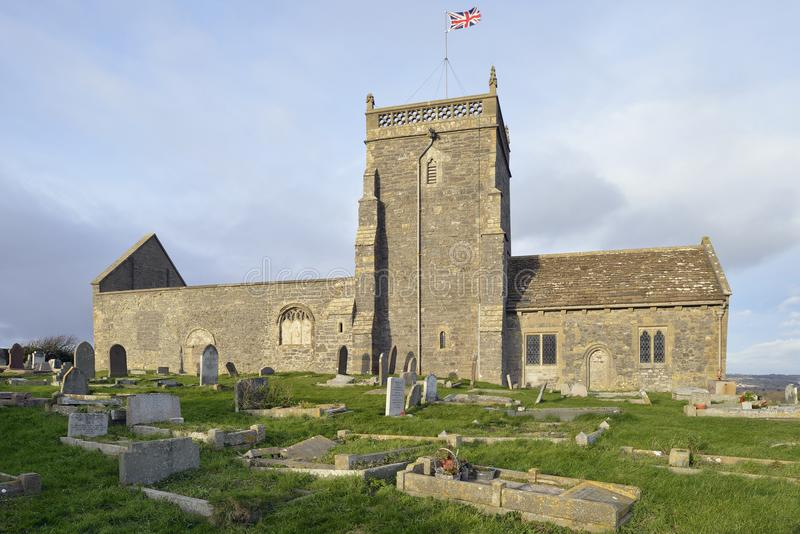 St Nicholas Old Church, Uphill. Weston Super Mare, Somerset 11th century Norman church on top of the cliffs Grade II listed stock photos