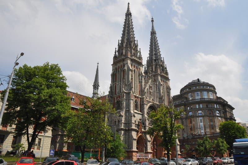 St Nicholas Roman Catholic Cathedral, Kyiv På den närvarande tiden - är det nationella huset av organet och kammarmusik av Ukrain arkivfoton