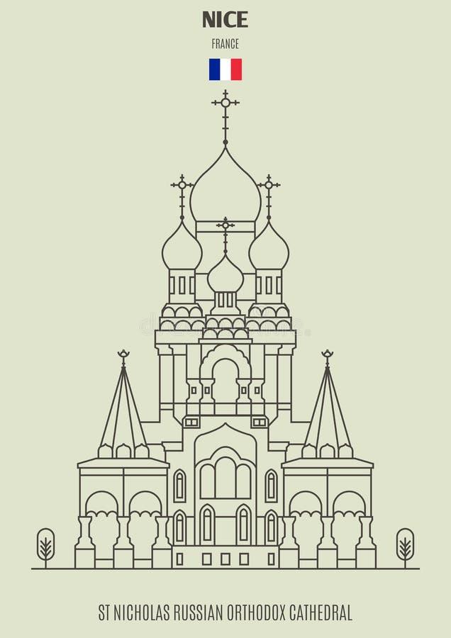 St Nicholas Russian Orthodox Cathedral em agradável, França Ícone do marco ilustração royalty free