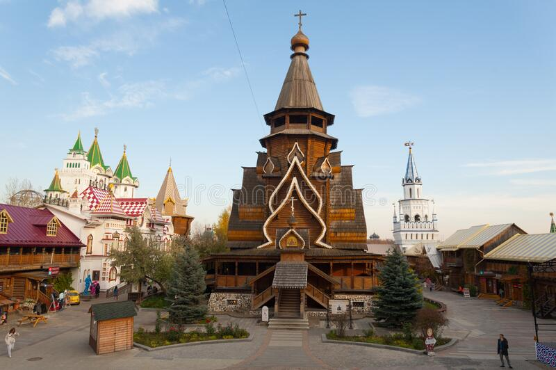 St. Nicholas Wooden Cathedral in Moscow 17.10.2019 stock photo