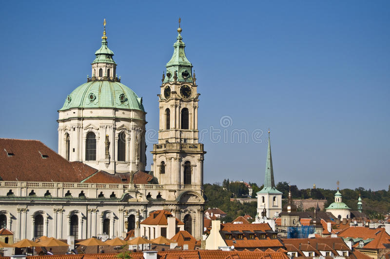 St Nicolas. View of St Nicolas in Mala Strana in Prague stock image