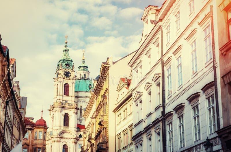 St. Nicolas Church in Mala Strana district of Prague stock image